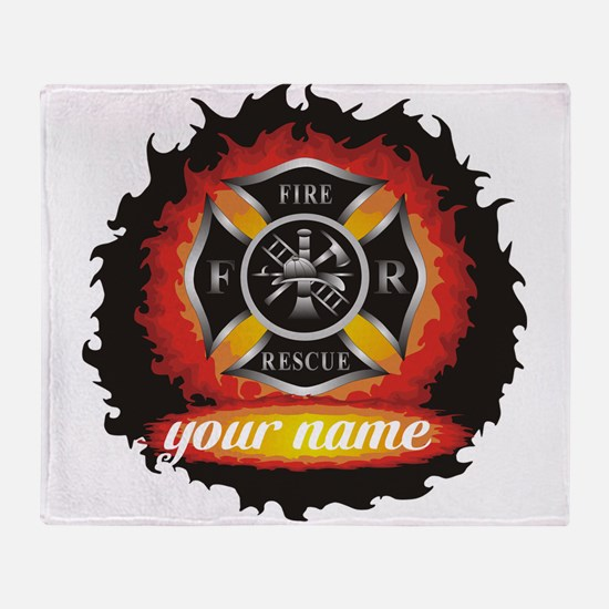 Personalized Fire and Rescue Throw Blanket