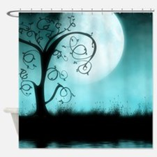 Enchanted-Silhouette-Tree-Teal Shower Curtain