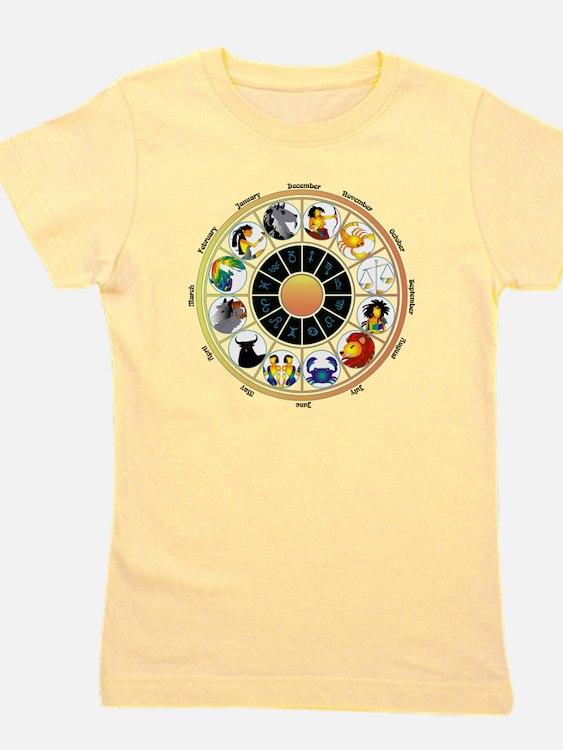 Whimsical Zodiac Wheel Girl's Tee
