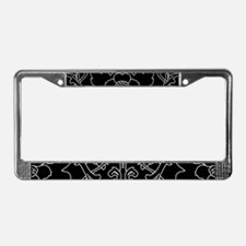 Black Flower Motif License Plate Frame