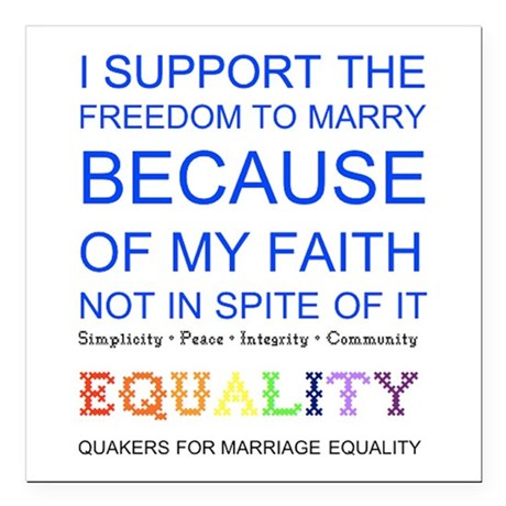 Quaker Marriage Equality Cross Stitch Square Car M