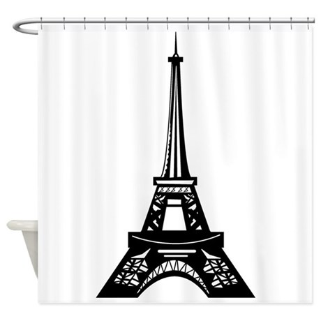 Tye Dye Shower Curtain Eiffel Tower Border