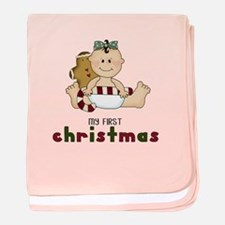 My First Christmas (Girl 1) baby blanket