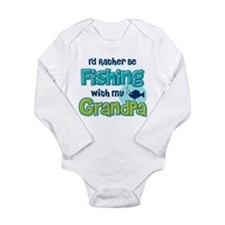 Rather Be Fishing Grandpa Long Sleeve Infant Bodys