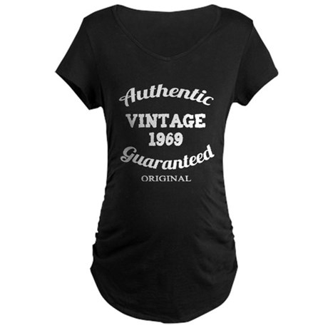 Authentic Vintage Birthday 1969 Maternity Dark T-S
