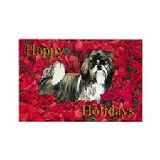 Shih Tzu Christmas Poinsettia Rectangle Magnet