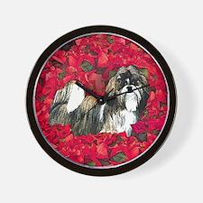 Shih Tzu Christmas Poinsettia Wall Clock