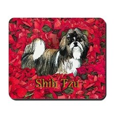 Shih Tzu Christmas Poinsettia Mousepad