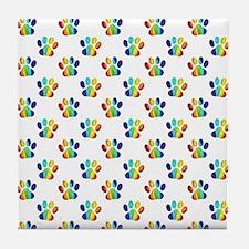 Rainbow Paw Prints on White Tile Coaster