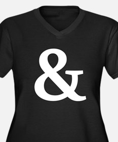 Vintage Ampersand Women's Plus Size V-Neck Dark T-