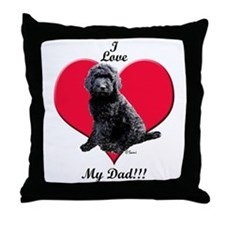 Black Golden Doodle Love Dad Throw Pillow
