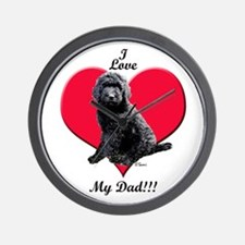 Black Golden Doodle Love Dad Wall Clock