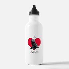 Black Golden Doodle Love Dad Water Bottle