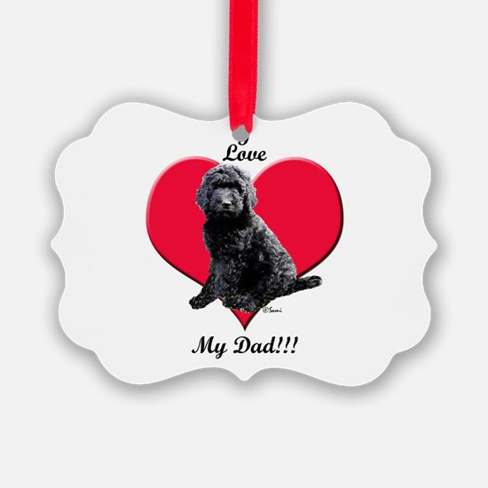 Black Golden Doodle Love Dad Ornament