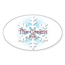 Snowflake - Green Oval Decal