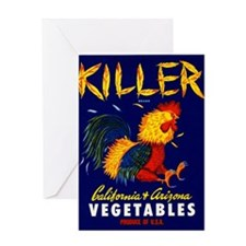 1940 Fighting Rooster Vegetable Crate Label Greeti