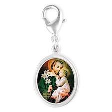 St Joseph Guardian of Jesus Silver Oval Charm