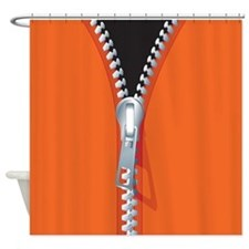 Unzipped Orange Shower Curtain