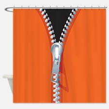 Unzipped Orange Shower Curtain