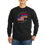 Armenia USA Flag Heritage Long Sleeve Dark T-Shir