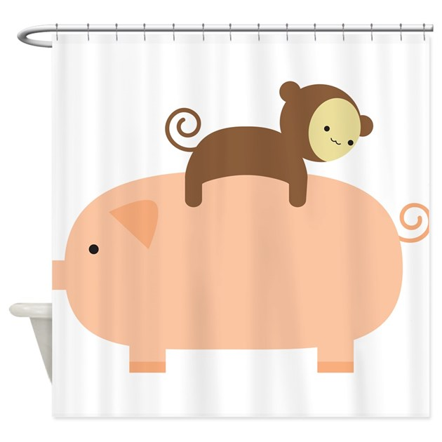 Baby Monkey Shower Curtain By Babymonkeyridingbackwardsonapig