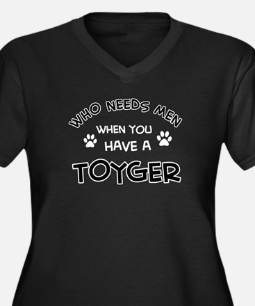 Funny Toyger designs Women's Plus Size V-Neck Dark