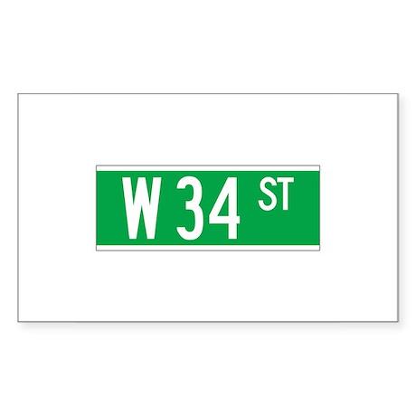W 34 St., New York - USA Rectangle Sticker