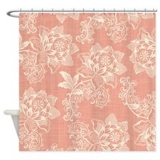 Shabby Chic Soft Floral Damask Shower Curtain