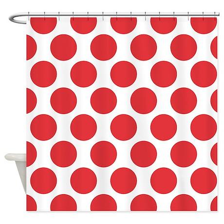 Poppy Red Polkadot Shower Curtain By ZandiepantsHomeDecor