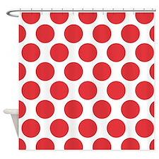 Poppy Red Polkadot Shower Curtain