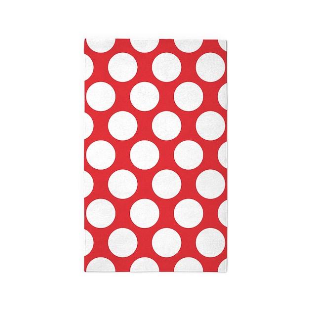 Poppy Red Polkadot 3 X5 Area Rug By Zandiepantshomedecor