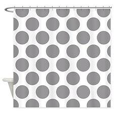 Pebble Grey Polkadot Shower Curtain