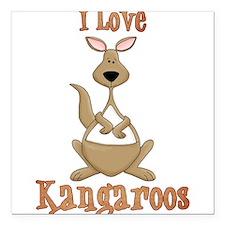 """i love kangaroos Square Car Magnet 3"""" x 3"""""""