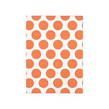 Nectarine Orange Polkadot 5'x7'Area Rug