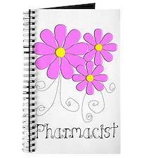 Pharmacist Blue Pink Flower Journal