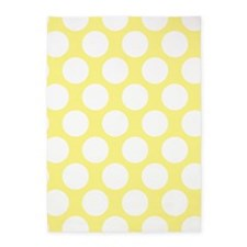Bright Yellow Polkadot 5'x7'Area Rug