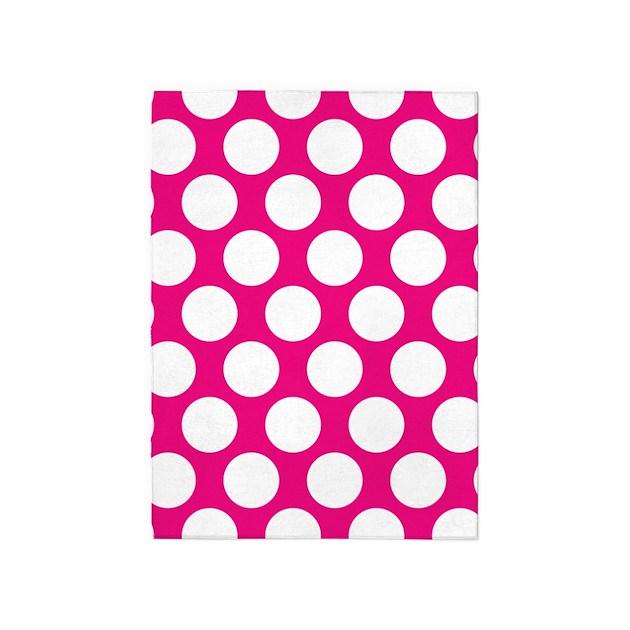 Hot Pink Polkadot 5'x7'Area Rug By ZandiepantsHomeDecor