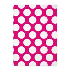 Hot Pink Polkadot 5'x7'Area Rug
