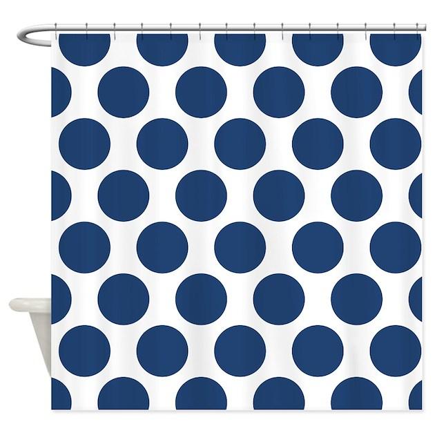 Navy Blue Polkadot Shower Curtain By Zandiepantshomedecor