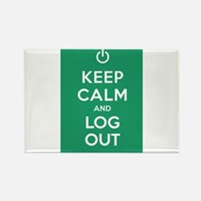 Keep Calm And Log Out Rectangle Magnet