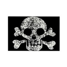 Worn Skull And Crossbones Rectangle Magnet