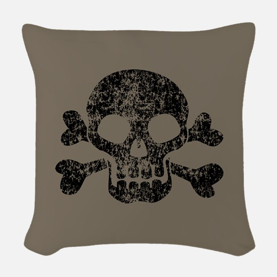 Worn Skull And Crossbones Woven Throw Pillow