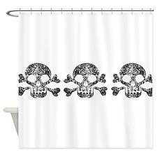 Worn Skull And Crossbones Shower Curtain