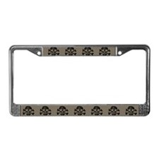 Worn Skull And Crossbones License Plate Frame