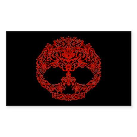 Decorative Scrolls Skull Sticker (Rectangle)