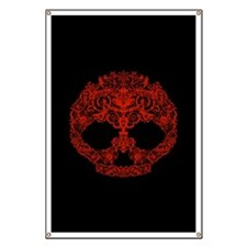 Decorative Scrolls Skull Banner
