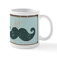 Blue Vintage Moustache Mug