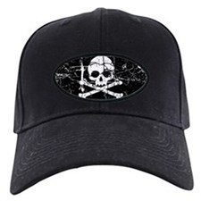 Crackled Skull And Crossbones Baseball Hat