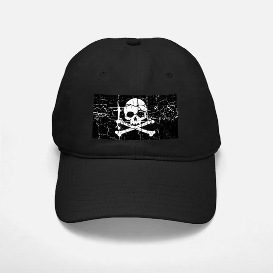 Crackled Skull And Crossbones Baseball Hat
