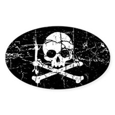 Crackled Skull And Crossbones Decal
